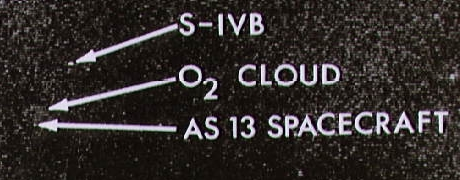 NASA telescopic photo of Apollo 13 and gas cloud